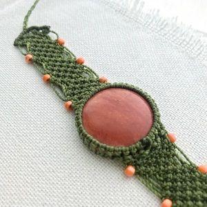 Hand Knotted Boho Macrame & Stone Beaded Bracelet